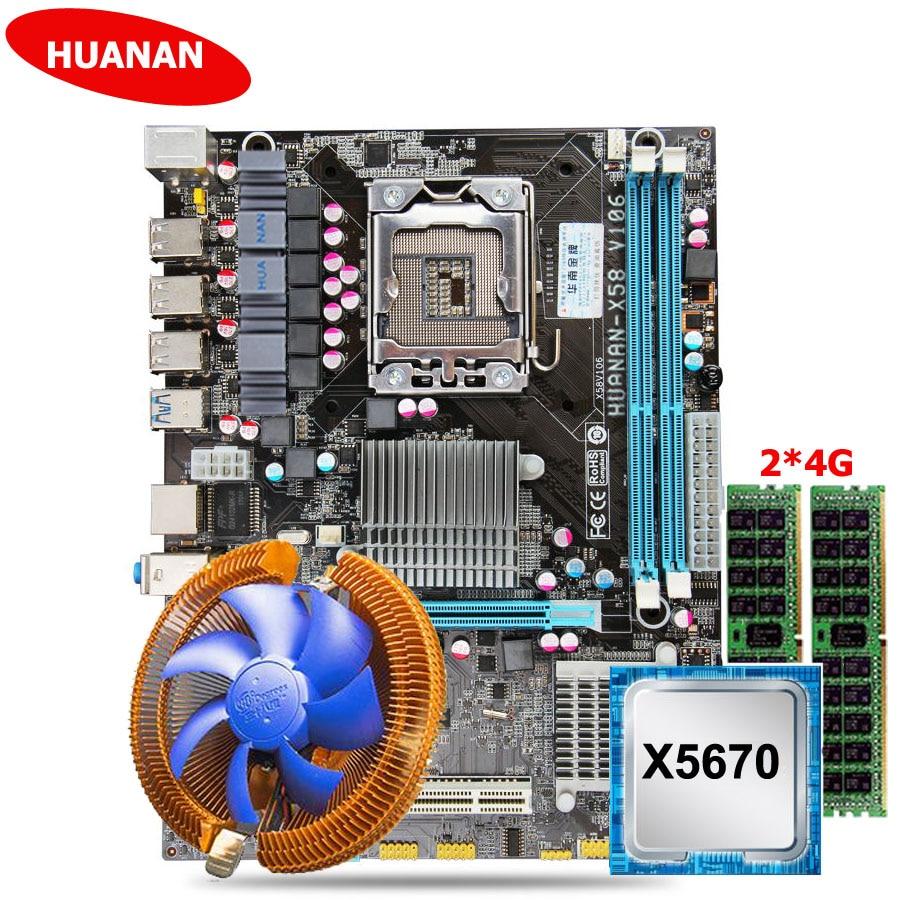HUANAN ZHI desconto X58 motherboard USB3.0 X58 X5670 LGA1366 motherboard com CPU Intel Xeon 2.93GHz RAM cooler 8G (2*4G) REG ECC