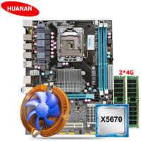 HUANAN ZHI discount X58 carte mère USB3.0 X58 LGA1366 carte mère avec CPU Intel Xeon X5670 2.93GHz refroidisseur RAM 8G (2*4G) REG ECC
