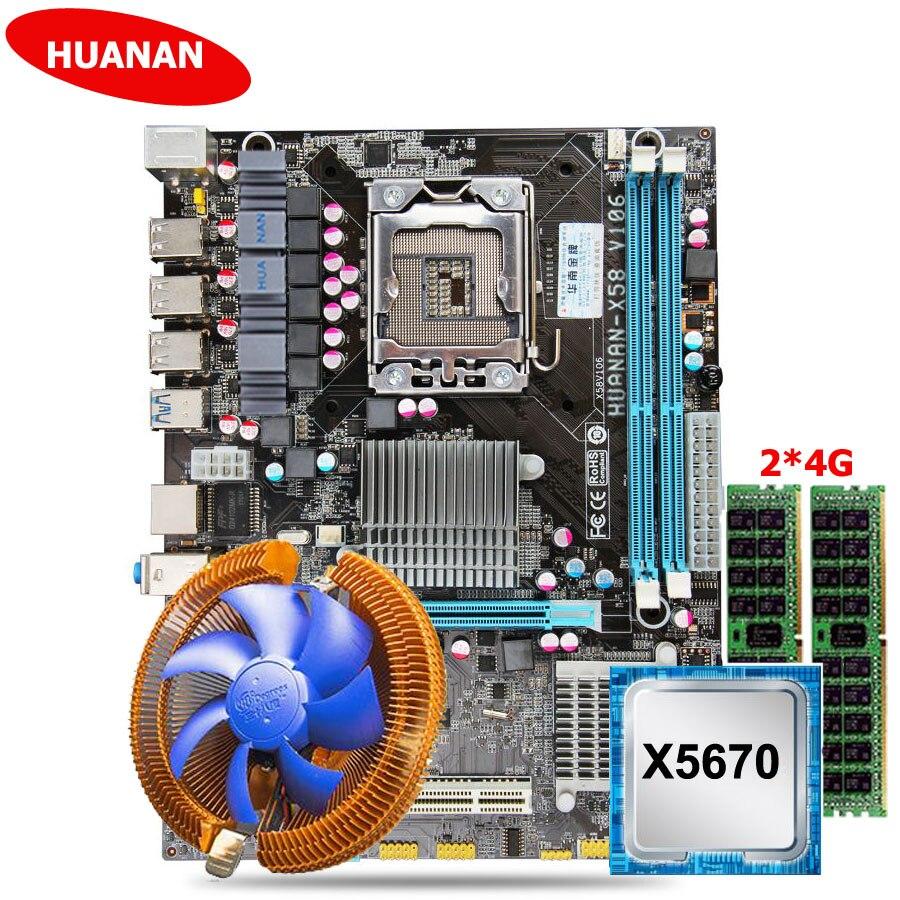 HUANAN ZHI remise X58 carte mère USB3.0 X58 LGA1366 carte mère avec CPU Intel Xeon X5670 2.93 GHz cooler RAM 8G (2*4G) REG ECC