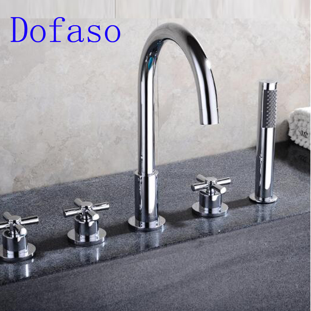 Dofaso bathroom deck mounted bath shower mixer Bathtub Basin Sink Brass Mixer Tap 5 PCS tub faucet bath spout best bathtub torneira waterfall wall mounted polished chrome 8860 shower bathroom basin sink brass tap mixer faucet