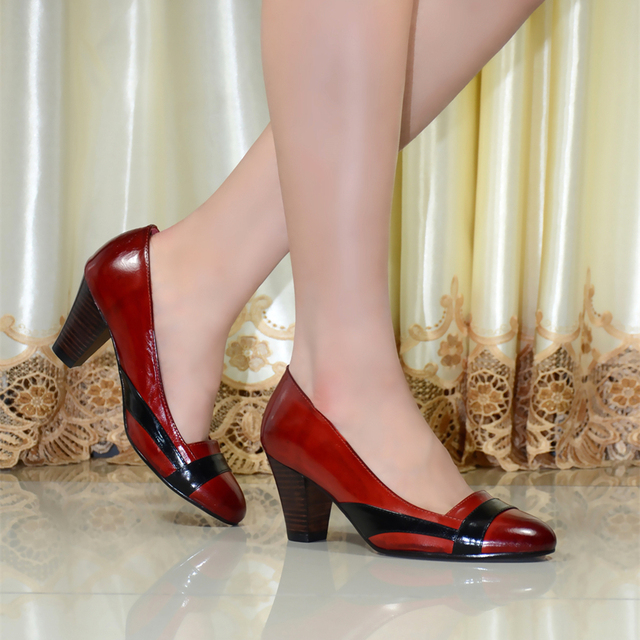 women's shoes,genuine leather round toe high heels women pumps,Hit color dress shoes for women office shoes,big size shoes 205-5