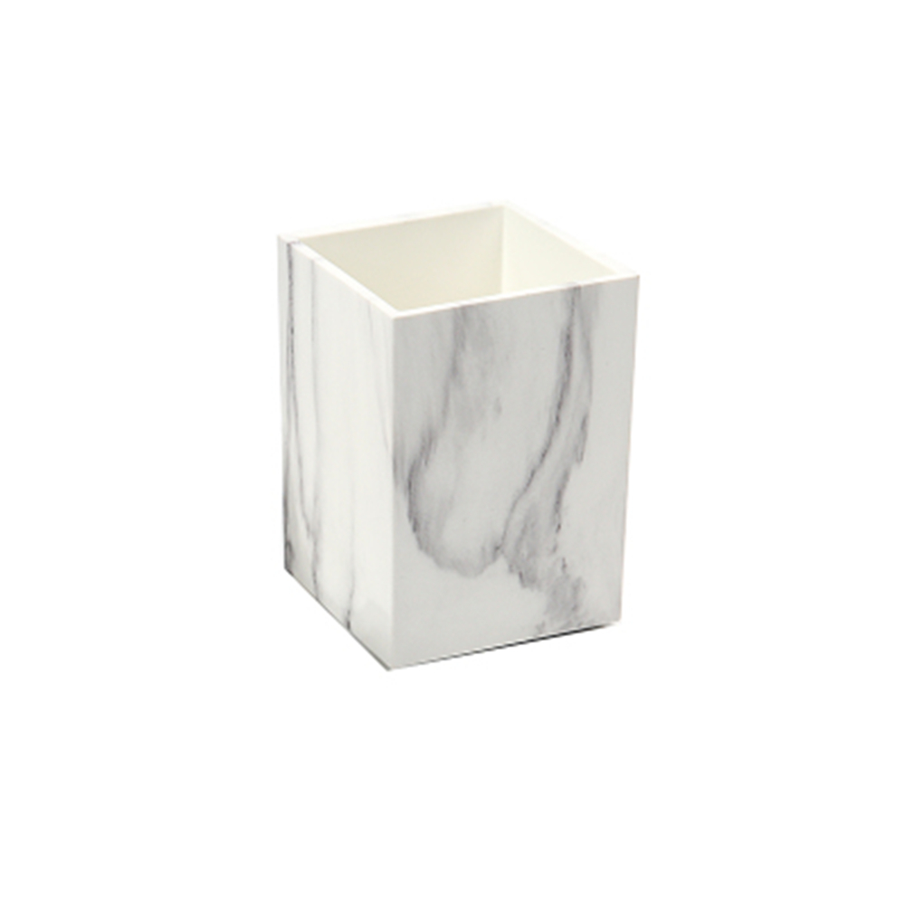 White Marble Print ABS Desk Pen Holder Case Box Pencil Holder Cup Makeup Brush Holder for Home Office Organizers and Accessories creative ceramic schedule mug w sponge rubber suction cup pen holder pencil white