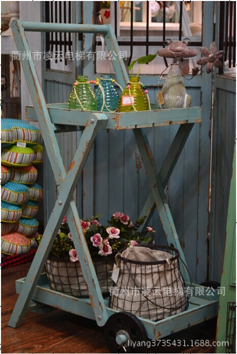 Garden Side Table Frame Home Decoration Food Fresh And Old Blue Wooden Carts Flower Stands