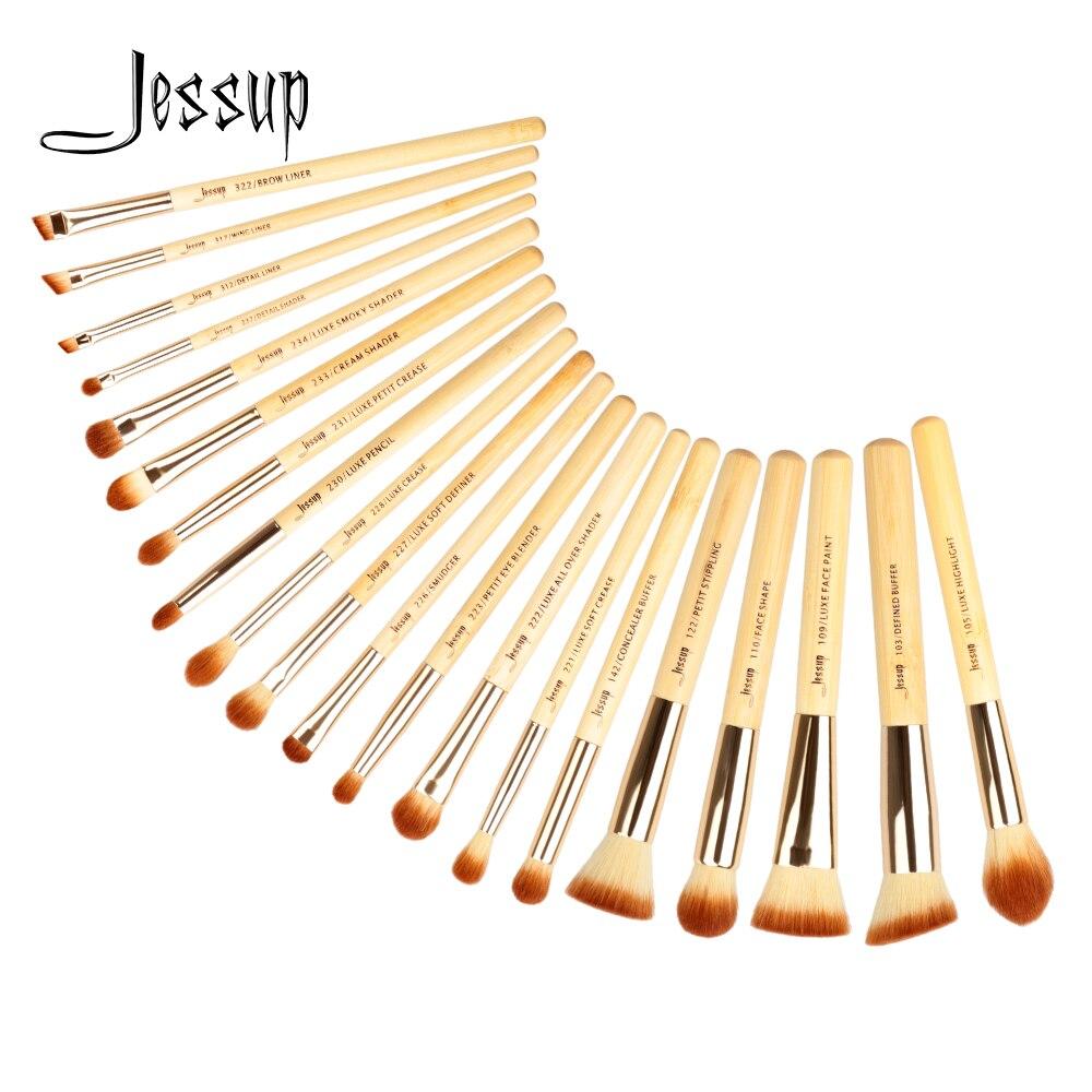 Jessup Brushes 20pcs Beauty Bamboo Professional Makeup Brushes Set Makeup Brush Tools kit Foundation Powder Brushes T145