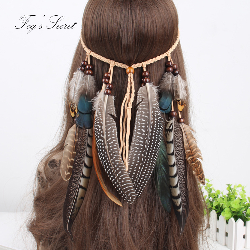 2019 New  Women Hippie Fashion Headbands Bohemian Feather Hair Band Accessories Ethnic Hair Band For Female