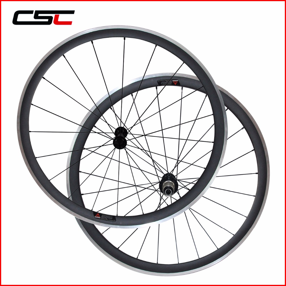 Carbon Wheelset aluminium alloy brake Surface Clincher With Powerway R13 Hub CN Aero 424 Spoke