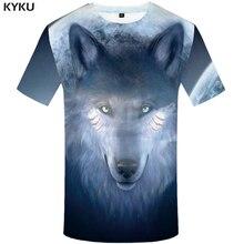 KYKU Wolf Shirt Moon Clothing Mens Short Sleeve Tshirt Streetwear Animal T shirt Men Summer Clothes Fashion 2018 New Style