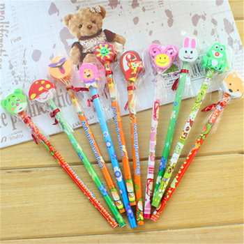 DL SY01 Korean creative stationery wooden Korean pencil cartoon with eraser pencil Japan and South Korea stationery wholesale image