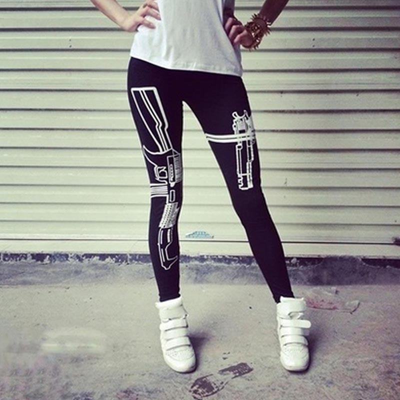 New Fashion Lady Leggings Classic Punk Women Machine Gun Patterned Print Black Soft Cotton Hip Hop Streetwear Pants