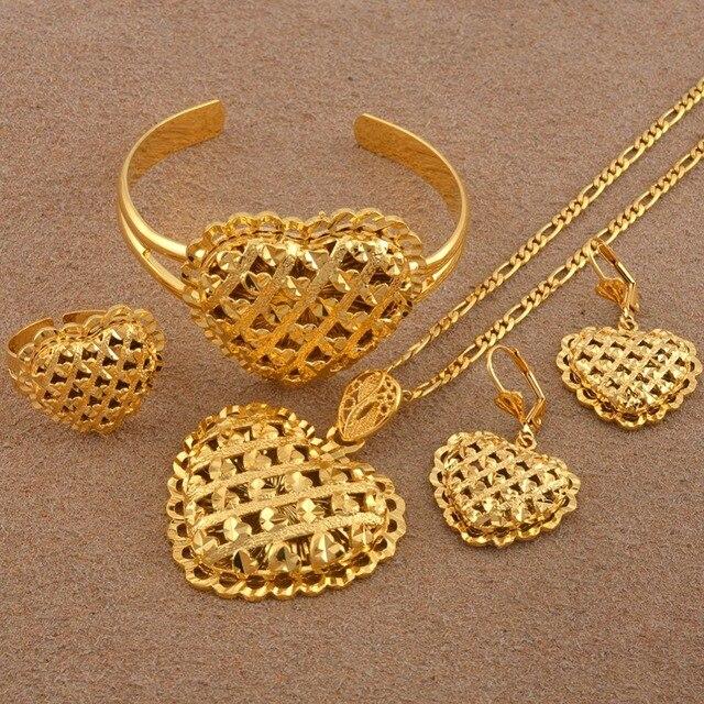 Coeur africain ensembles de bijoux éthiopien or couleur collier de mariage boucles doreilles bracelet anneau Dubai arabe mariée bijoux #119106