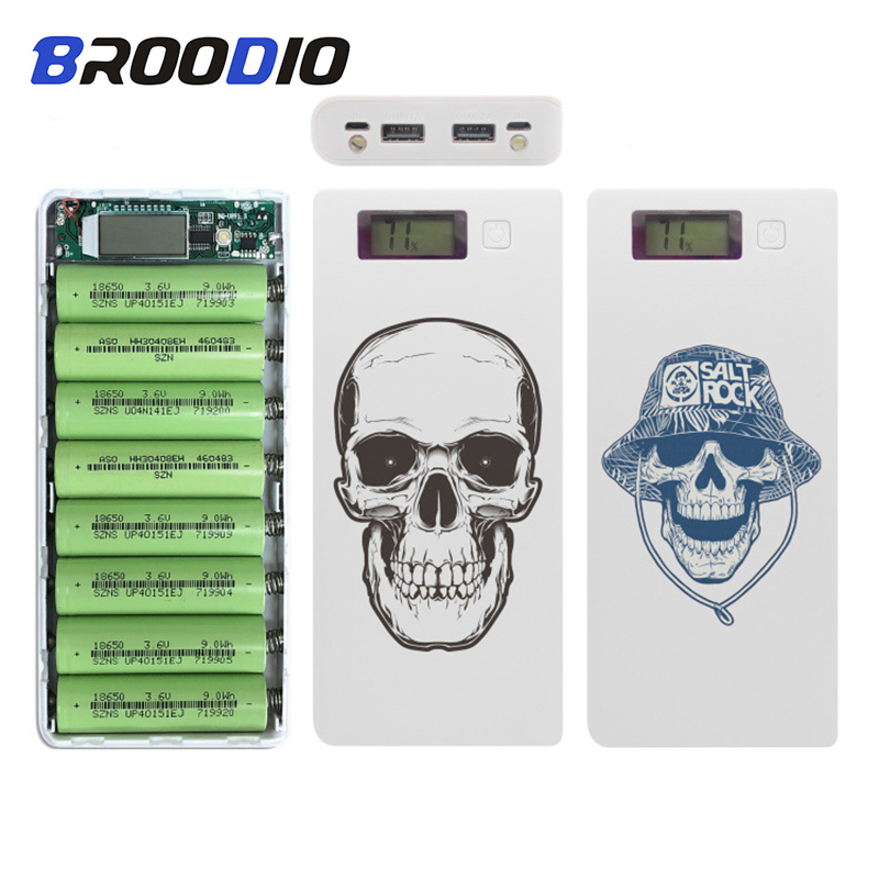 Colored Drawing 18650 Battery Charger Mobile Phone DIY Shell 8*18650 battery Dual USB Power Bank Case Charging Box