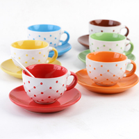 Creative Wave Ceramic Coffee Cup And Saucer Set With Coffee Spoon Color Porcelain Pull Flower Latte Coffee Cup Free Shipping
