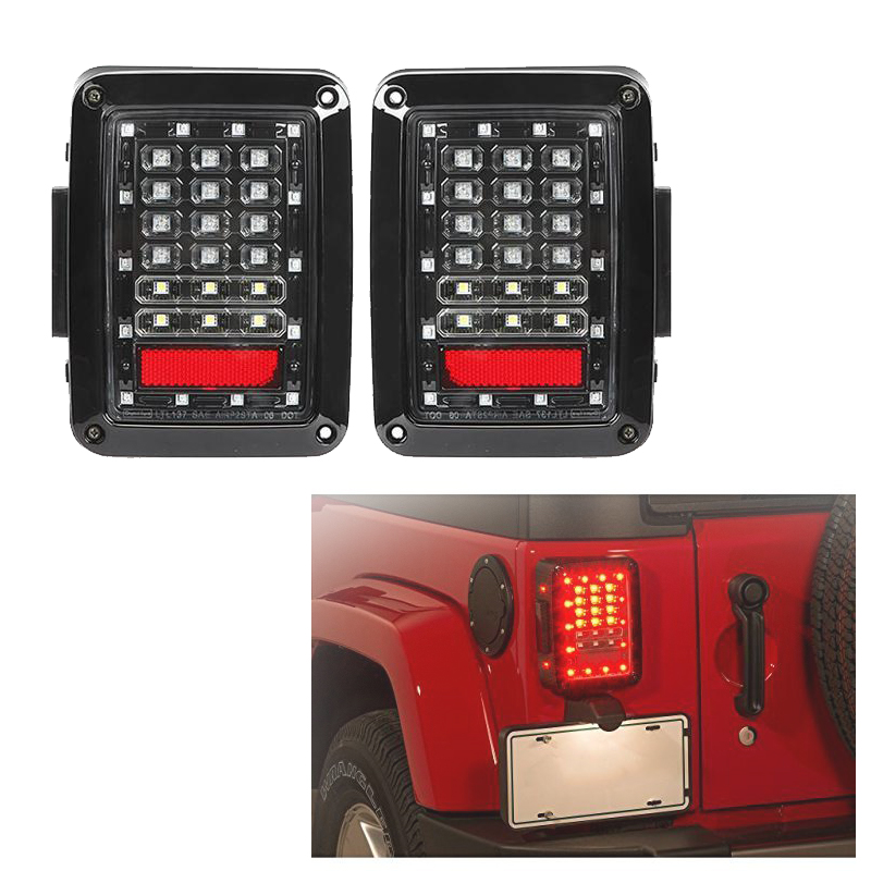 EU US Standard ABS LED Tail Lights Integrated Rear Turn Signal Light for Jeep Wrangler JK 2007-2015 Brake Reverse LED Lights for jeep wrangler jk 2007 2016 tail light diamond smoke led tail light