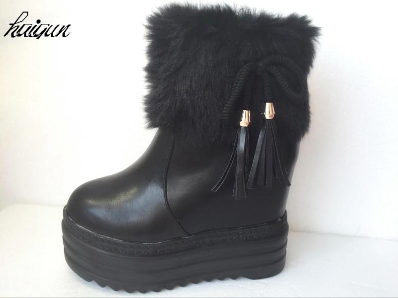 Casual Zapatos Botas Cm Mujer Patente Alta Mujeres Invierno Negro Gruesas Cuñas Tobillo blanco 12 Impermeables Ultra De Moda Las Con RZnggIqz