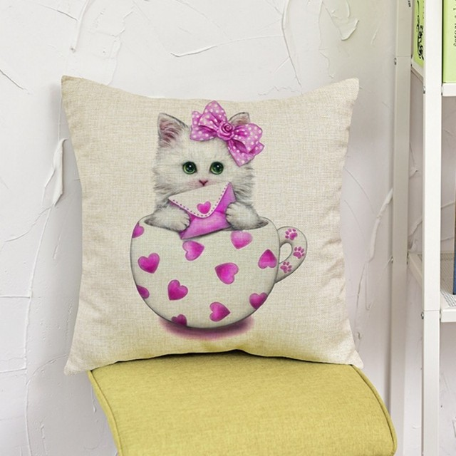 Cute Cat Purple Stars Angle Wings Cup Little Girl Room Decorative Beauteous Little Girl Decorative Pillows