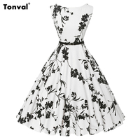 Tonval Sleeveless Flowers 50S Vintage Women Dress Plus Size Rockabilly Floral Print Summer Belted Party Female