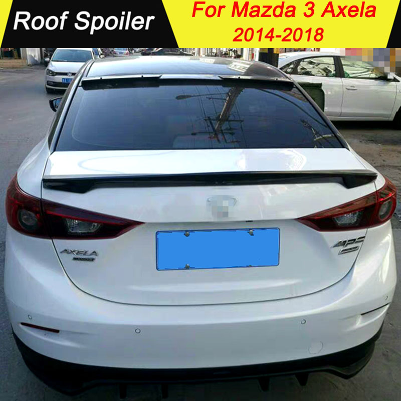 ABS Material Roof <font><b>Spoiler</b></font> For <font><b>Mazda</b></font> <font><b>3</b></font> Axela 2014 2015 2016 2017 <font><b>2018</b></font> Primer Color Car Tail Wing Decoration Rear <font><b>Spoiler</b></font> image