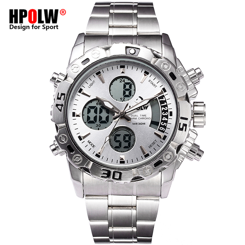 New HPOLW Brand Digital Military Men's Quartz Wrist Watch Relogio Masculino Watch Men Date Day LED Display Luxury Sport Watches new shark brand watch mens date day led display luxury sport military watches digital men s quartz wristwatch male clock sh547
