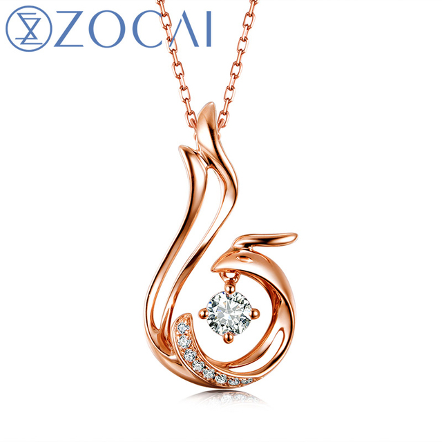 ZOCAI Love Forever Patent Real 18K Gold Genuine 0.07 CT Certified Diamond Phoenix Pendant  with 925 Silver Chain D00037