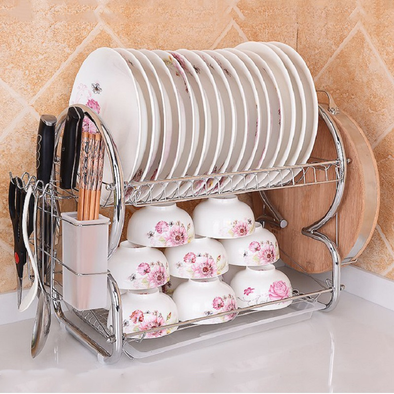 Double bold Stainless Steel rack HOT Sale Tool Carrier To kitchen storage shelf Dish diner rack D Free shipping-in Storage Holders \u0026 Racks from Home ... & Double bold Stainless Steel rack HOT Sale Tool Carrier To kitchen ...