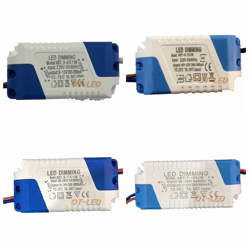 Dimmable Isolated 300mA 3-4x1W 5x1W 6-7x1W Led Driver 3W 4W 5W 6W 7W 9W 10W 12W 20W 24W Power Supply AC 110V 220V For LED Lights