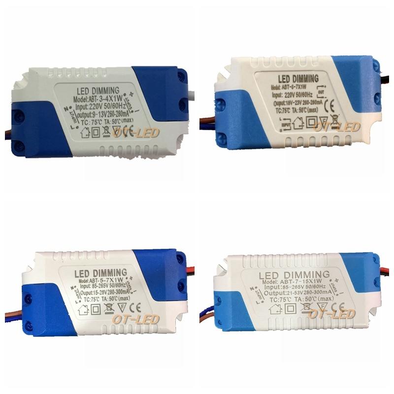 Светодиодный драйвер 300mA 3-4x1W 5x1W 6-7x1W, Диммируемый, 3 Вт 4 Вт 5 Вт 6 Вт 7 Вт 9 Вт 10 Вт 12 Вт 20 Вт 24 Вт, источник питания AC 110 В 220 В для светодиодных свети...