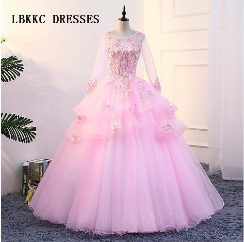 Светло-Розовый Пышное Платье Одежда с длинным рукавом высокая шея Тюль с кружевом бальное платье, Vestidos De айва anos 2018
