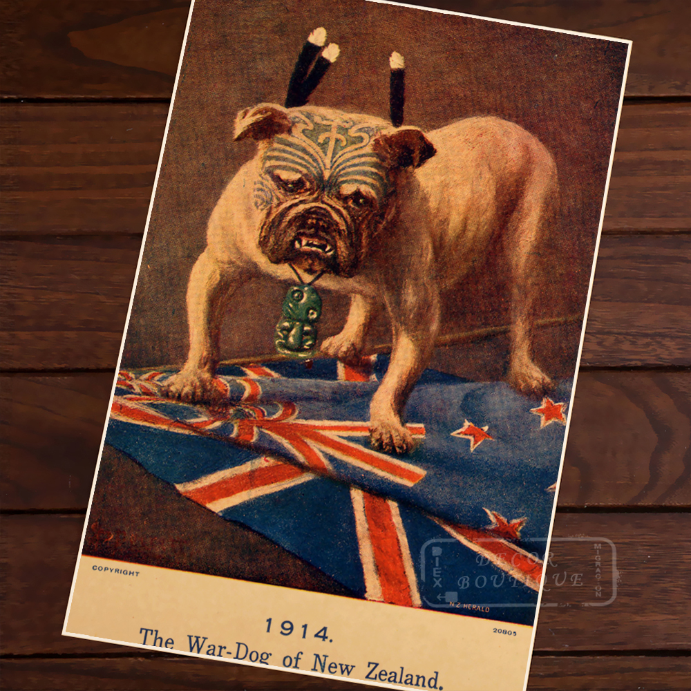 WW1 poster: The War-Dog of of New Zealand NZ Vintage Retro Decorative Frame Poster DIY Wall Home Posters Home Decor Gift
