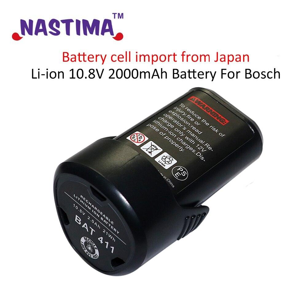 цена на Li-ion 10.8V 2000mAh Battery For Bosch BAT 411A BAT 411 Cordless Drill BAT412A, BAT413A 2 607 336 013, 2 607 336 014