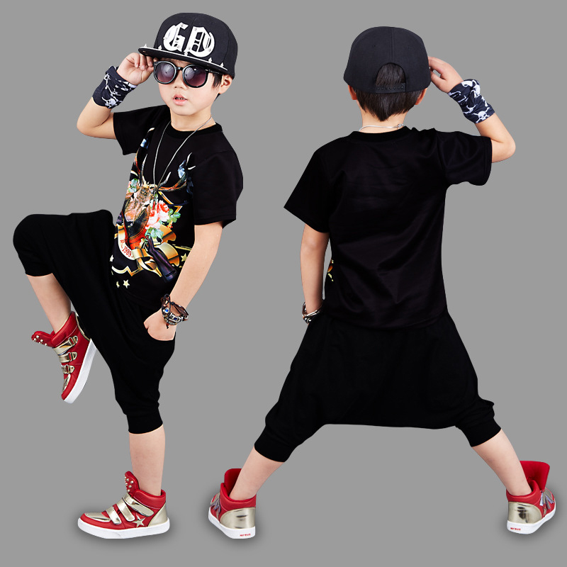 где купить Breakdancing Boy Clothing Sets Baby Kids Boy T-shirt And Harem Pants Pure Cotton Suits Boys Hip-Hop Streetwear Style Clothing по лучшей цене