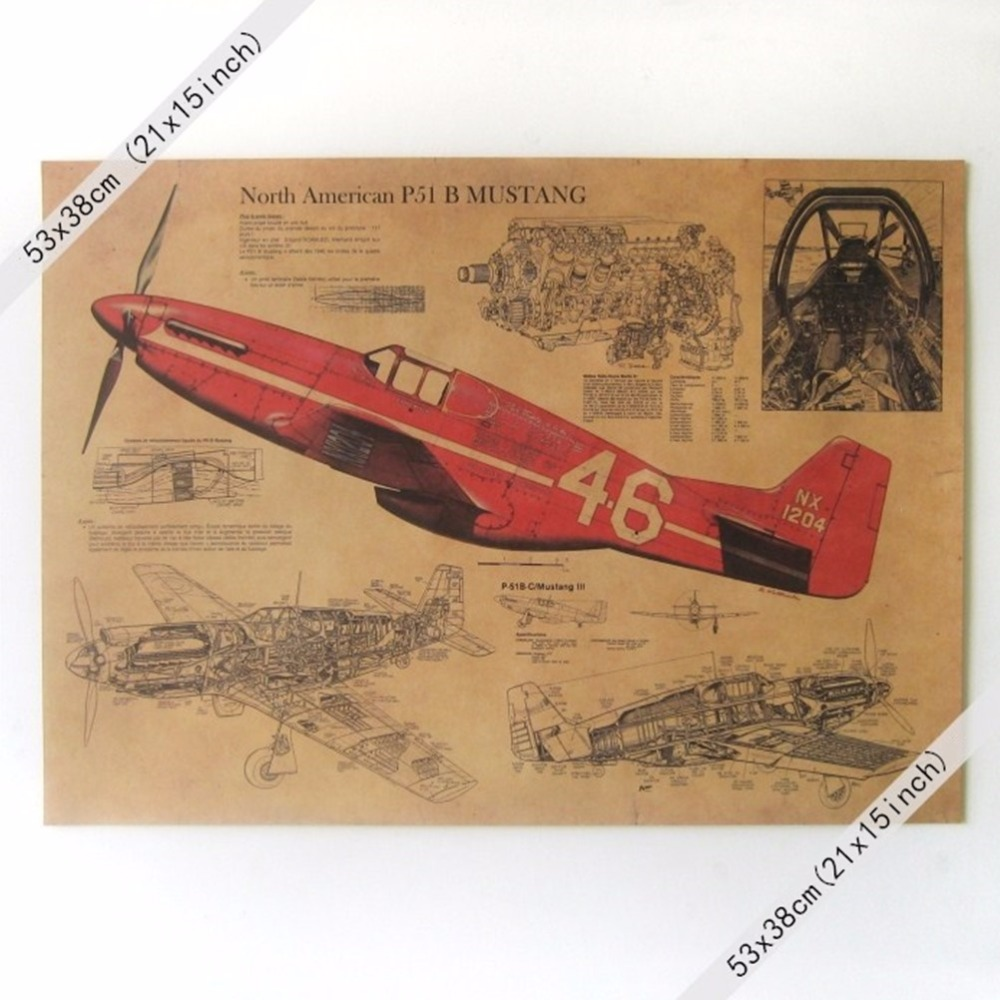 NORTH AMERICAN P51 B MUSTANG PLANE XXL Vintage Wall Poster 21x15 inch Paper Poster