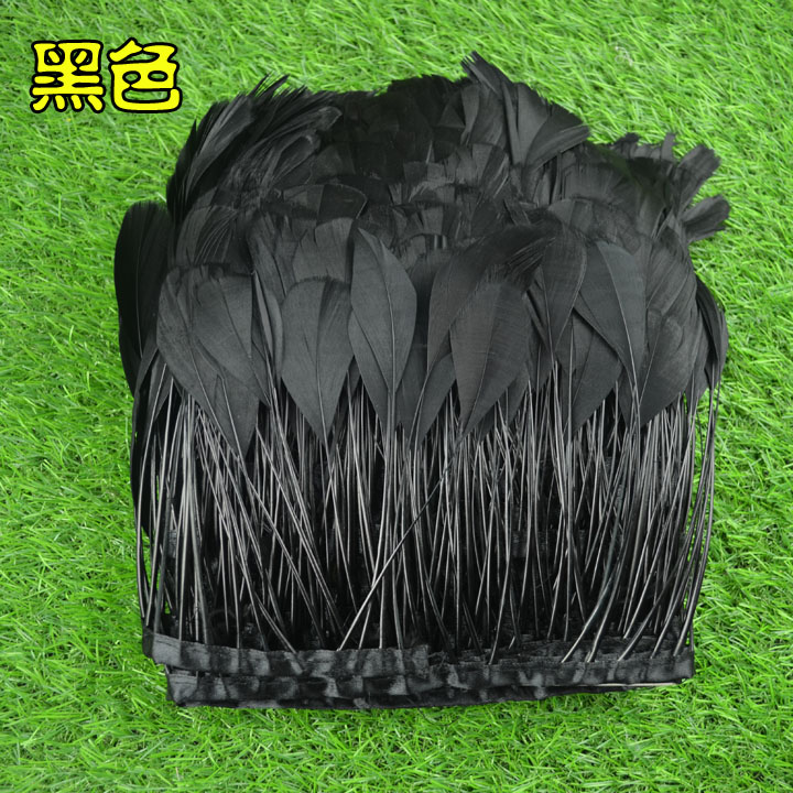 Gold Supplier Asia Ra Factory 10Y/lot Fantastic DIY Decoration Dyed Black Stripped Goose Feathers trims trimming fringes