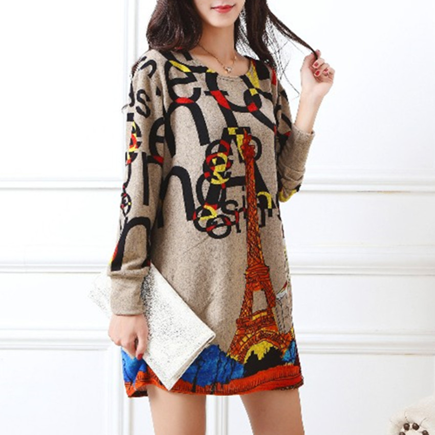 2019 New Long-sleeve O-neck Cashmere Sweater Casual Print Tunic Thin Fashion Pullovers Tops  Polyester Loose