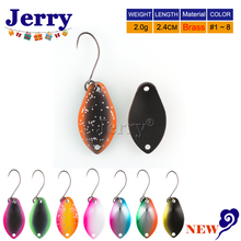Jerry 2g trout spoons brass fishing spoons pesca micro metal lures area trout fishing ultralight