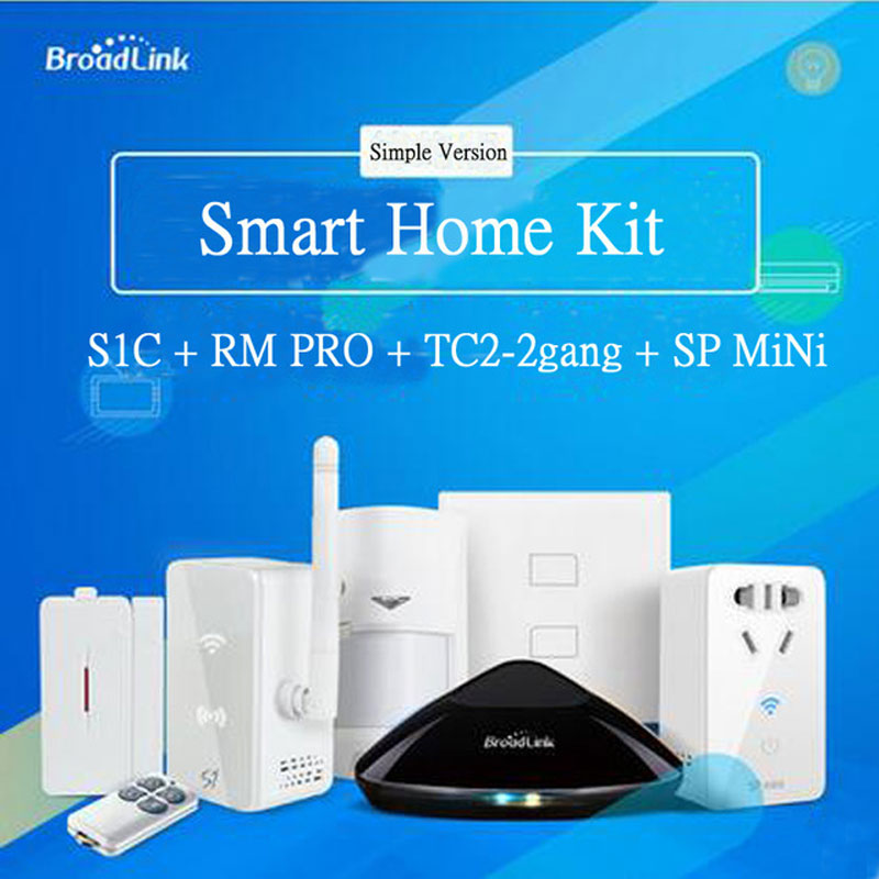 Broadlink Rm Pro+S1C Alarm Kit +TC2 Wall Switch+Sp Mini Wifi Socket,Wireless Remote Control Wifi/RF/IR For Smart Home Automation broadlink us tc2 wifi touch switch 3gang 110 220v for rm2 rm pro universal remote controller wifi ir rf wireless control 433 315