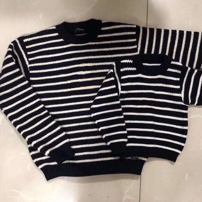 Kid Autumn Sweater High Quality knitted Striped Sweaters for Boys Girl Pullover Clothes Parent-kid sweater in end of October цена 2017
