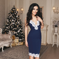 Sexy Summer De Festa Womens Evening Party Dresses V Collar Half Sleeveless Night Club Woman Lace