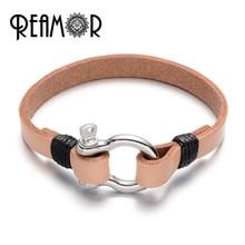 d4302ab7de46 REAMOR cuero genuino herradura hombres pulseras 316L de acero inoxidable  desmontable broche Simple brazalete brazaletes de joyer.
