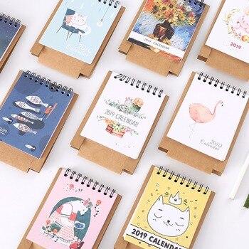 2019 Year New Cat DIY Cartoon Mini Desktop Paper Calendar Daily Scheduler Table Planner Yearly Agenda Organizer Notebook