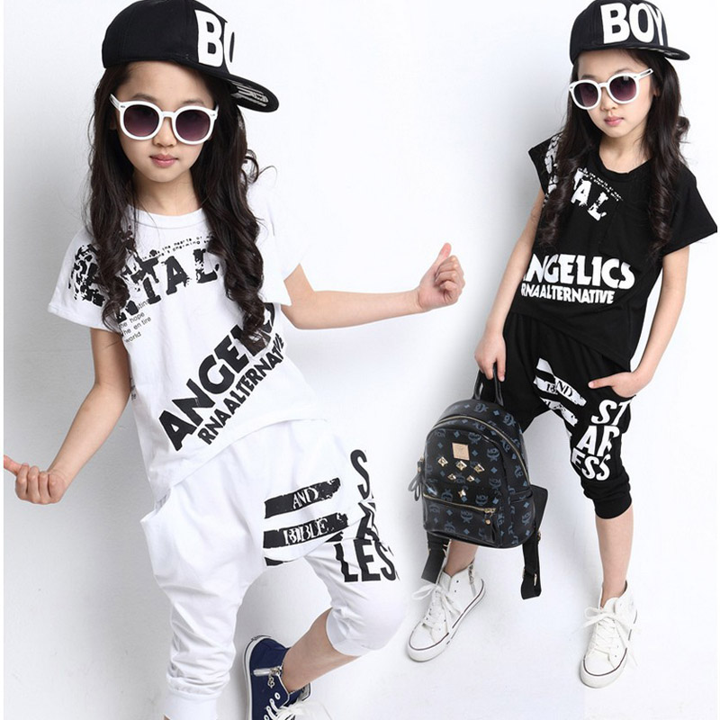Summer Girls Clothing Sets 2017 Letter Girl Street wear Short Sleeve T-shirt & Harem Pants 2 Pcs Kids Girls Hip Hop Costume 2-14