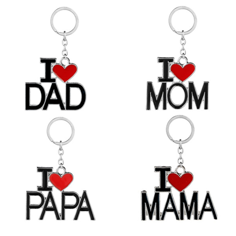 Metal Family Pendant Keychain I Love MAMA/MOM/DAD/PAPA Letter Key Chains Souvenir Jewelry Key Ring Mother Father 's Day Gift