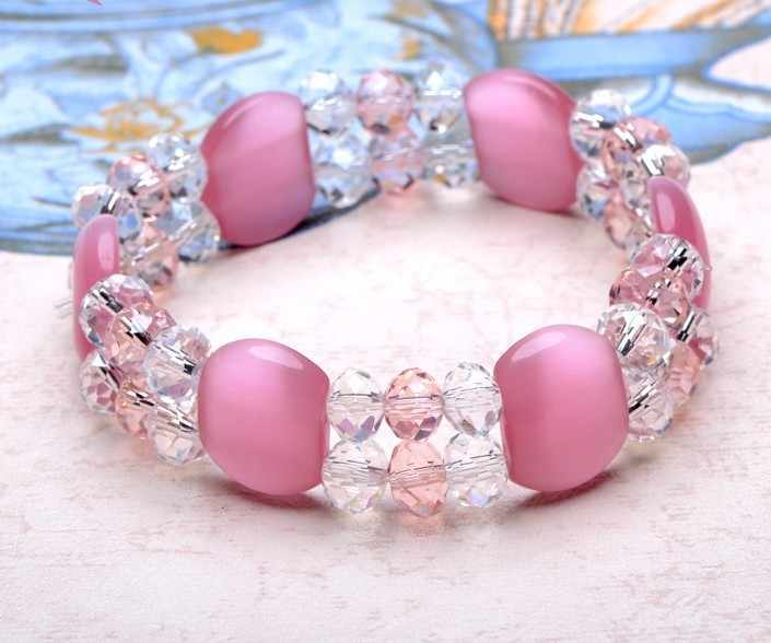hot sells fashion handmade party resin crystal strand opals precious stone bracelets bangle 2019 women
