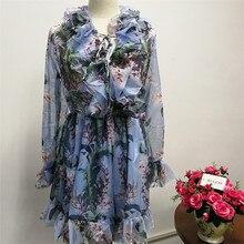 Floral Print Vintage Deep V Neck Long Sleeve Beach Dresses