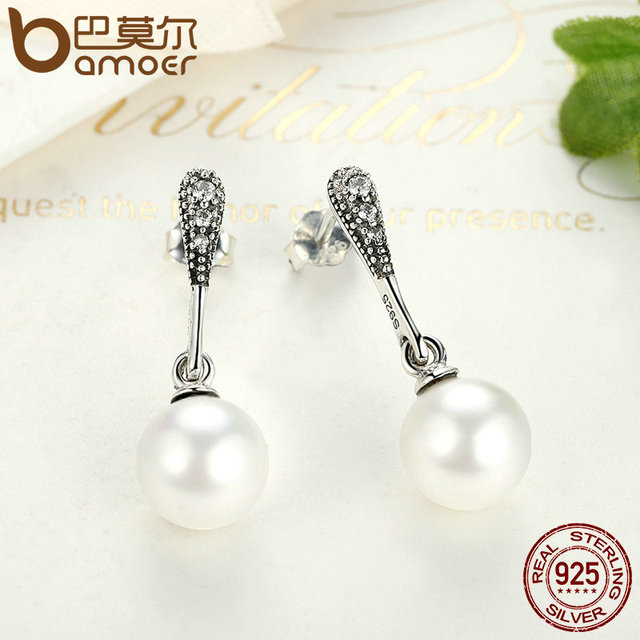 Sterling Silver White Freshwater Pearl Drop Earrings