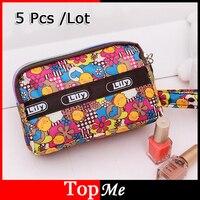 Women Zipper Wallets Lady Purses Brand Flower Canvas Moneybags Clutch Coin Purse Wallet Keys Cards Wrisele Bags Burse 5pc/Lot