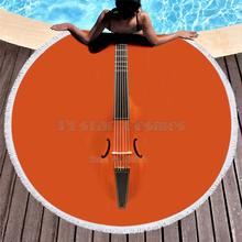 Violin Guitar art Musical instrument Women Bath Towel for Beach Thick Round 3d print Fabric Quick Compressed new style-1