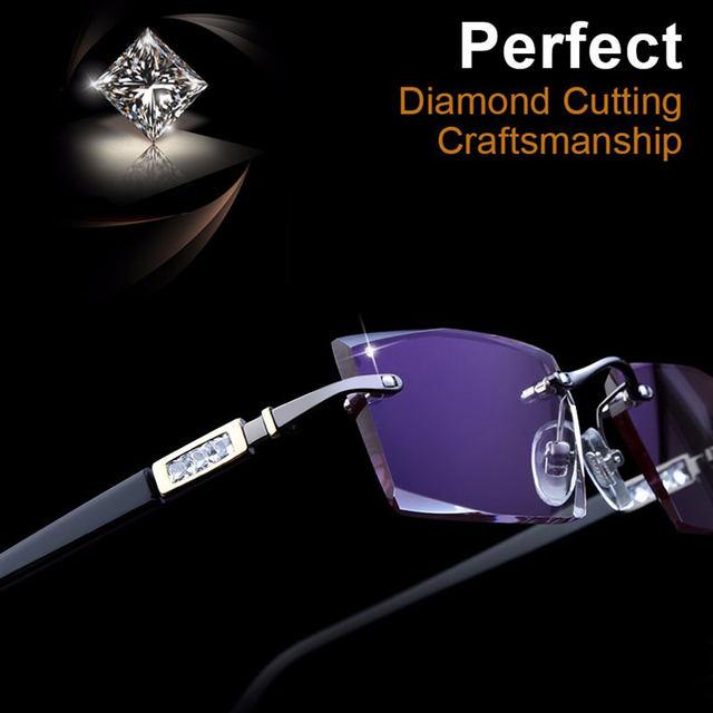 Phantom coupe titanium lunettes mâle modèle diamant cristal découper  pistolet en métal sans monture fini prescription lunettes YD924 bdaf9bf07d09