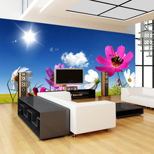 large mural wallpaper 3D abstraction painting with flowers bees behind sofa TV as background in living room or bedroom цена 2017