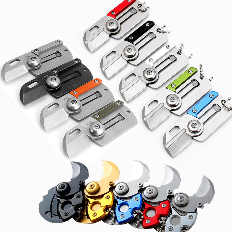 Mini Folding Coin Pocket Knife Portable Multi Wallet Credit Card Knife Keychain Necklace EDC Tool Claw