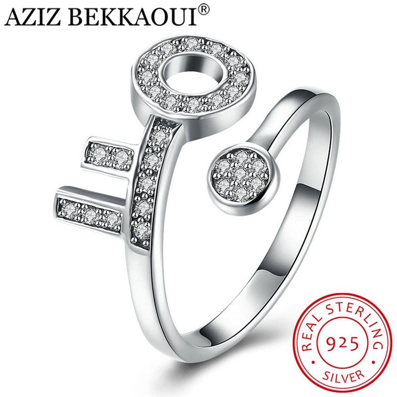 Open-Finger-Rings Engagement Jewelry Crystal Women 100%925-Sterling-Silver Luxury Key